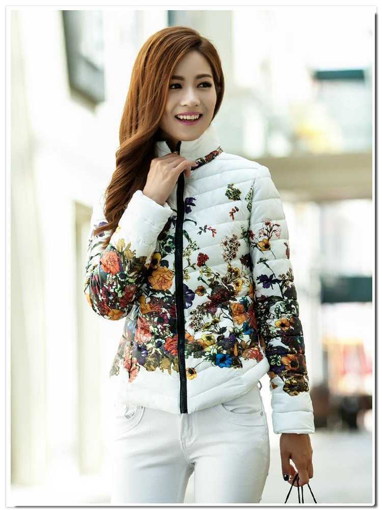 New Arrival Fashion Korean Long Sleeves Short Different Fowers Print Stand Clollar Thicken Cotton Down Jackets Women Coat H4313Одежда и ак�е��уары<br><br><br>Aliexpress