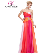 Grace Karin Evening Dresses Plus Size 18W 20W 22W 24W Elegant Long Evening Gowns Chiffon Robe De Mariage Blue Red Formal Dresses(China)