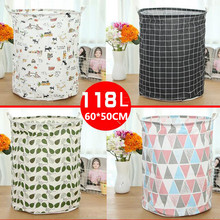 Large 60*50cm Folding Laundry Basket Cartoon Storage Barrel Cotton Linen Dirty Clothes Basket Toy Bra Sock Storage Basket/Bucket(China)