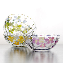 Japan Styel SAKURA glass bowls ceartive decorative glass tableware solid colors ice cream salad fruit bowls dessert mini bowls