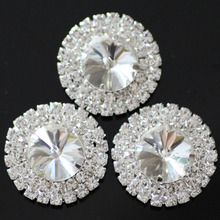 5pcs/lot Big Size 32mm Crystal Rhinestones Buttons With 3 Hole  Silver Base,Sew on Strass Accessories DIY Jewelry