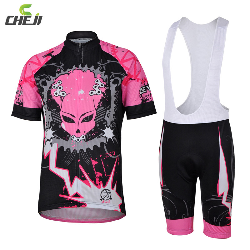 CHEJI Women Pink Devil Chains Bike T-shirts GEL Padded Tights Cycling Jersey Bib Short Sleeve Bike Bicycle Cycling Jersey Set<br><br>Aliexpress
