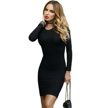 2017 New long sleeve black backless dress lace up strappy mini short bodycon dresses for women night club wear clothes A22840
