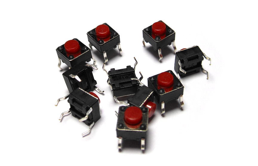 10PCS/Lot 6*6*5MM Black/ Red Small Button Switch Copper Foot Micro Square Push Button Switches Electronic Accessories 6X6X5