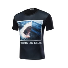 New 3 d animal print 2017 t-shirts ferocious shark underwater world short-sleeved clothing fitness Camisetas galaxies themselves