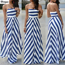 2d7f2160f Rayas mujeres Sexy verano Maxi vestido largo sin tirantes elegante noche  partido playa vacaciones vestido Casual Sundress