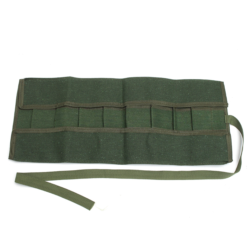 Army Green Garden Bonsai Storage Package Roll Bag Garden Repair Tools Scissors Pliers Canvas Storage Bag Tool Set Case