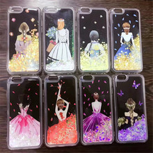 Cartoon Girl Love Heart Stars Glitter Stars Dynamic Liquid Quicksand Soft TPU Phone Back Cover Case For iPhone 6 6S 7 7 Plus(China)