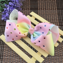 "1Pc 7"" Fashion Large Ombre Signature Rainbow Grosgrain Hair Bows Clips With Rhintesones Boutique Big HairBows For Girl(China)"