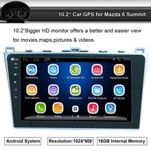 Android Car GPS Navigation Apply to Mazda 6 Mazda Summit Audio Video Player with Wifi Bluetooth Mobilephone Mirro Link(China)