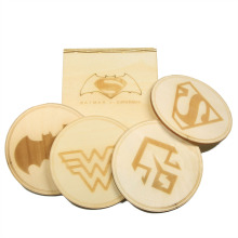 Free Shipping 6 Sets DC Comic Batman vs Superman Cup Mat Wooden Wonder Woman & Doomsday Coasters with Gift Box