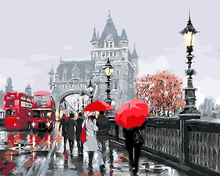 Rainy Red bus Russia Landscape Oil Painting picture By Numbers module Pictures Coloring by hand Unique Friend Gift Home Decor