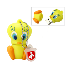 New real capacity Cartoon green & yellow Tweety Bird USB Flash Drive Memory Flash/Pen/Thumb Drive 4GB/8GB/16GB/32GB pen drive(China)