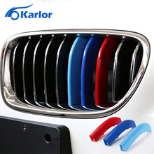 3 Colors ABS 3D M Styling Front Grille Trim Strips Cover Motorsport Power Performance Sticker For BMW X3 X4 X5 X6 3 4 5 Series