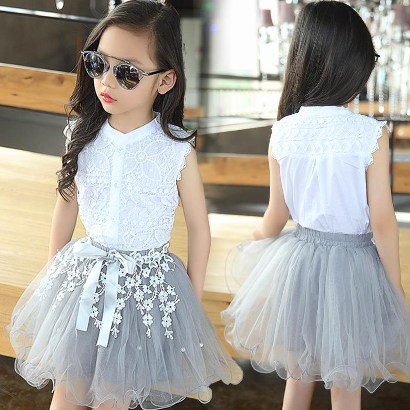 Girls Clothing Skirt Set 2017 Summer Outfits Flower Lace Fashion Style Clothes Suit For Girls White T-Shirt + Tulle Skirts Kids(China (Mainland))