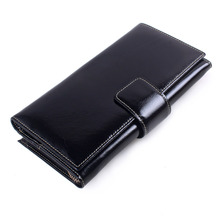 2018 Fashion Female Day Clutch Money Wallet Women Genuine Oil Wax Leather Womens Long Purse Brand Handbag Cell Phone Card Holder(China)