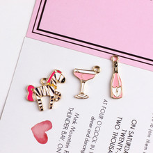 Homemade DIY accessories alloy pendant Pendant Bracelet hair oil rose red zebra bottle