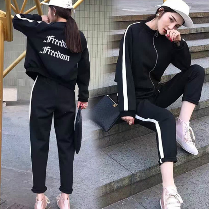 casual sportswear 2 Two-piece set women autumn and winter 2019 new women's fashion casual slim slimming Sweatshirt sports suit