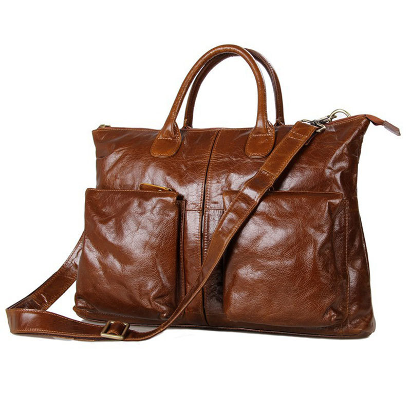 100% Guarantee Genuine Cowhide Brown Glossy Leather Mens Briefcase Business Handbag Fit for 15 Laptop  # PR577241B<br><br>Aliexpress