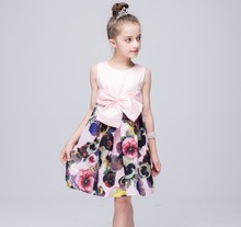 New nova brand princess pettiskirt girl dress Europe stitching style children's dresses with big bow floral kids clothes BH919(China)