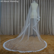 Alencon Eyelash Lace 3 Meter Long Bridal Veils Wedding Hair Accessory Hair Cover 2017 New Style Real Photo