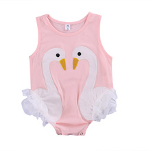 2017 Fashion Toddler Baby Kids Girls Flamingo Feathers Swan Romper Jumpsuit Playsuit Outfits 0-3Y