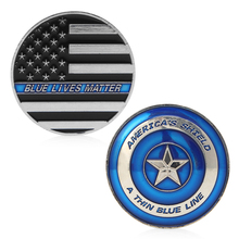 (OOTDTY)Thin Blue Line Lives Matter Police America Shield Commemorative Challenge Coin MAY16_35
