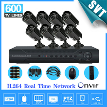 NVR CCTV Home 8CH H.264 Surveillance 8PCS Day Night Weatherproof Camera System Kit Network DVR, IR Security Protection SNV-29