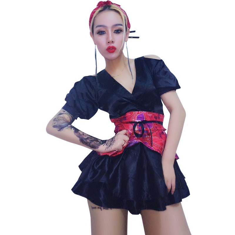 New Sexy Female Singer Outfit Red Shiny Jazz Dance Wear Dj Nightclub Dress Costume Women Stage Costumes For Singers Dance (5)
