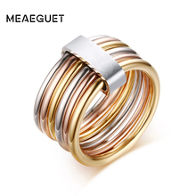 Meaeguet Fashion Women's Unique Rings Stainless Steel 6 Circle Interlocked Stacked 10MM Wide Statement Party Bijoux Accessories