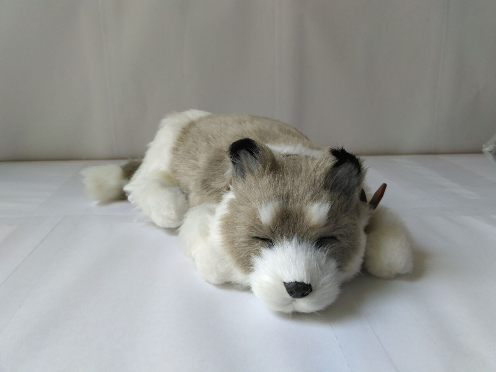 cute simulation breathing husky dog toy new sleeping dog doll gift about 25cm<br>