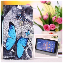 Cartoon Butterfly Painting Stand Wallet Flip Leather Cover For Micromax Canvas Pace 4G Q415 Case With Card Slots+Lanyard gift