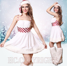 Ladies Cosplay Santa Princess White Fancy Dress Sexy Backless Spaghetti Bodycon High Waist Slim Party Christmas Costumes Dress