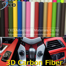 127X20CM/Lot 3D Carbon Vinyl Film Wrap Car Sticker Sheet Roll 3D Car Stickers And Decals Motorcycle Car styling 3D carbon film