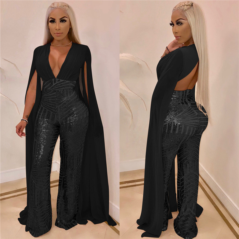 Women Chiffon Split Long Sleeve Sequin Jumpsuit Sexy V Neck Patchwork Loose Wide Leg Romper Evening Sparkly Jumpsuit Overalls