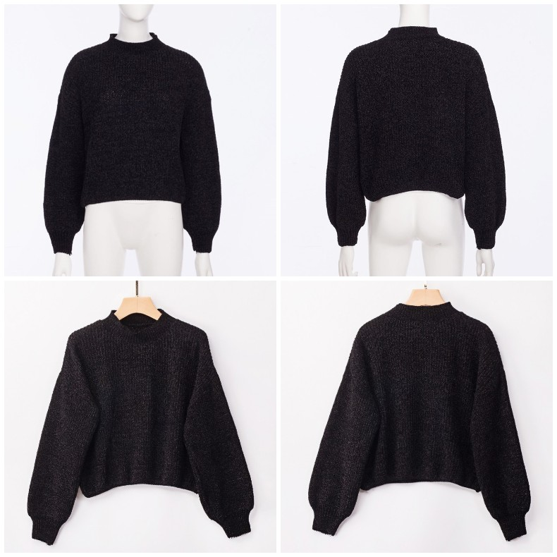 Forefair Casual Turtleneck Sweater Woman Winter Knitting Pullovers Lantern Sleeve Short Black White Knitted Solid Jumper Women 18