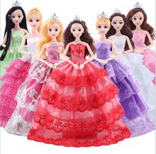 NK One Pcs Mix Style Princess Wedding Full Lace Dress Noble Party Gown For Barbie Doll Fashion Design Outfit Best Gift