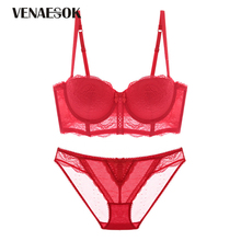 Buy Fashion Luxury Red Lingerie Lace Embroidery Women Push Bra Set Thick Cotton Deep v Brassiere Sexy Underwear Sets Black