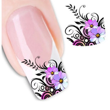 1 sheet Beauty Purple Flower Water Transfer Nail Sticker Nail Art Decals DIY Decorations French Manicure Tip Nail Tool LASTZ-022