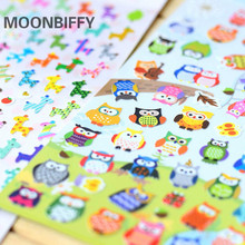 1 sheet Children Cute Owl Giraffe Reward Stickers School Teacher Merit Praise Sticky Class Paper Lable Kids Classic Toys