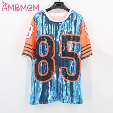 AMBMCM New women sequin t shirt female nightclub costumes jazz Dance Wear tops singer perform t shirt hip-hop clothing sequined