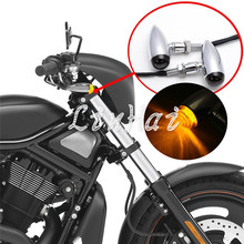 Motorcycle Chrome Mini Bullet Smoke Turn signal  light For Harley cruiser chopper custom