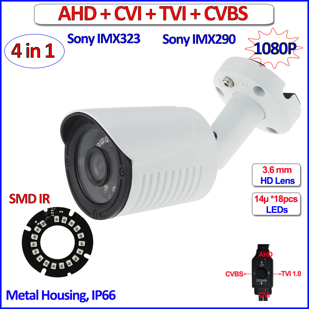imx323 imx290 Sensor 1080P AHD HDCVI HDTVI 4in1 surveillance camera 2MP Color Night Vision outdoor security camera, free bracket<br>