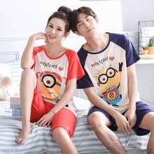 Yellow Minions Pyjama Femme Coton 2017 Summer Women Pajama Sets Couple Lover Pijamas Mujer Sleepwear Sets Homewear(China)