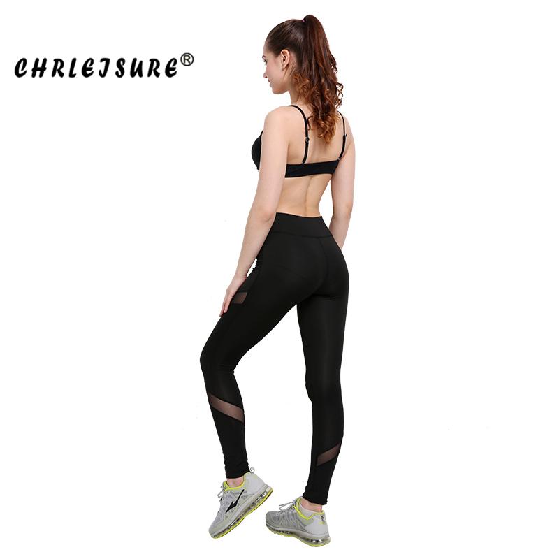 CHRLEISURE Sexy Women Leggings Gothic Insert Mesh Design Trousers Pants Big Size Black Capris Sportswear New Fitness Leggings 17