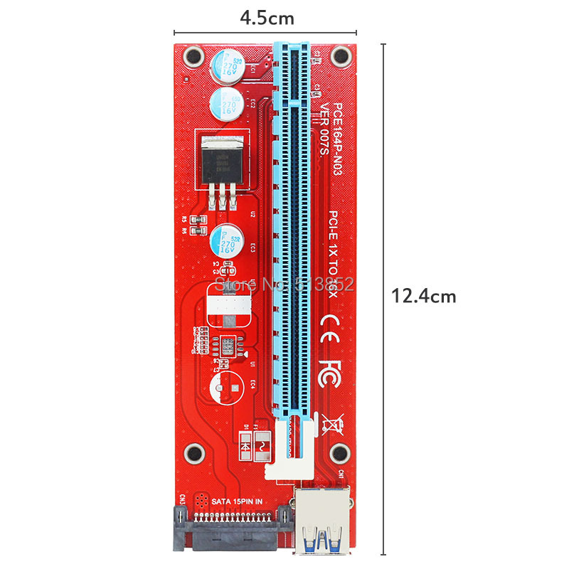 KPC1309_6_New Red VER007S PCI Express Riser Card 1x to 16x PCI-E Extender 60cm USB 3.0 Cable 15Pin SATA Power for BTC Miner