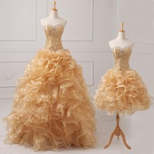2016 New design beaded stones sweetheart dark champagne two piece quinceanera dresses short dress with floor length overlay