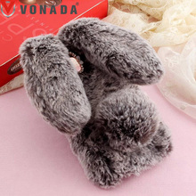 Vonada Plush Case Lenovo S580 S860 S660 S90 S60 S1 Lite A916 A859 P780 Cute Rabbit Ears Fur Cover TPU Jewelled Soft Case