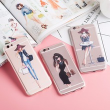 Napeyin Cases For iPhone 6 6s Plus 6Plus Fashion Dress Sexy Girls TPU Transparent Clear Soft Silicon Phone Cover bag for iphone6(China)