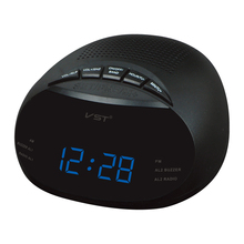 Led Digital Radio Alarm Clock With Blue Red Green  Backlight Two Groups Alarm Clock  AM  FM Clock Radio Table Clock Radio